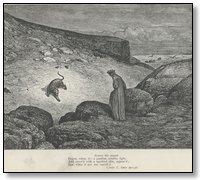 À la chute du jour, le poëte s'égare dans une forêt.--Il y passe la   nuit, et se trouve au lever du soleil devant une colline où il essaye   de monter, mais trois bêtes féroces lui en défendent l'approche.
